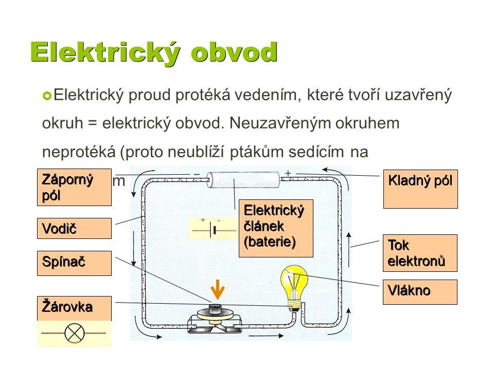 Elektrický obvod  Elektrický proud protéká vedením, které tvoří uzavřený okruh = elektrický obvod. Neuzavřeným okruhem neprotéká (proto neublíží pták