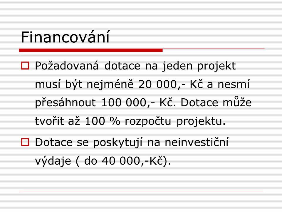 Financování  Požadovaná dotace na jeden projekt musí být nejméně 20 000,- Kč a nesmí přesáhnout 100 000,- Kč.