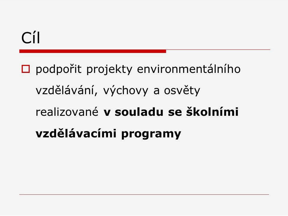 Cíl  podpořit projekty environmentálního vzdělávání, výchovy a osvěty realizované v souladu se školními vzdělávacími programy