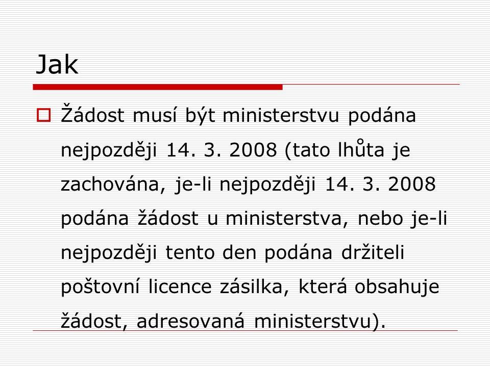 Jak  Žádost musí být ministerstvu podána nejpozději 14.