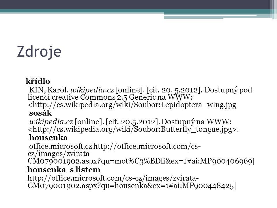 Zdroje křídlo KIN, Karol. wikipedia.cz [online]. [cit. 20. 5.2012]. Dostupný pod licencí creative Commons 2.5 Generic na WWW: <http://cs.wikipedia.org