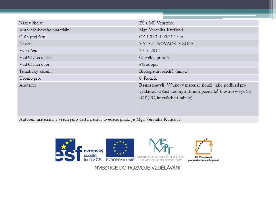 Název školy:ZŠ a MŠ Verneřice Autor výukového materiálu:Mgr. Veronika Kurišová Číslo projektu:CZ.1.07/1.4.00/21.1526 Název:VY_32_INOVACE_V.ZOO3 Vytvoř
