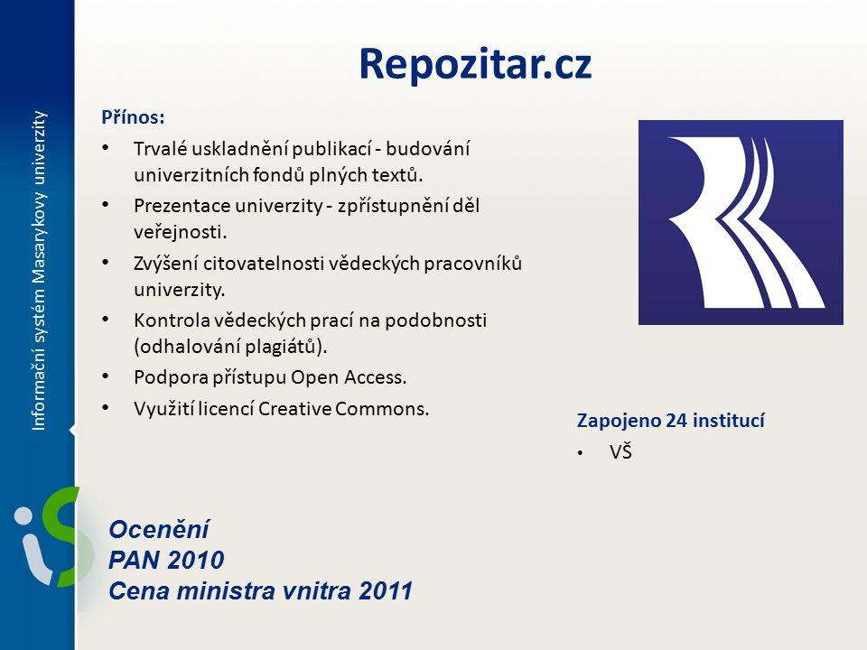 Informační systém Masarykovy univerzity Repozitar.cz Přínos: Trvalé uskladnění publikací - budování univerzitních fondů plných textů.