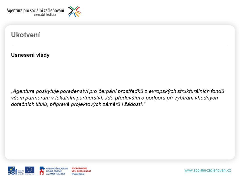 """www.socialni-zaclenovani.cz Ukotvení Usnesení vlády """"Agentura poskytuje poradenství pro čerpání prostředků z evropských strukturálních fondů všem partnerům v lokálním partnerství."""