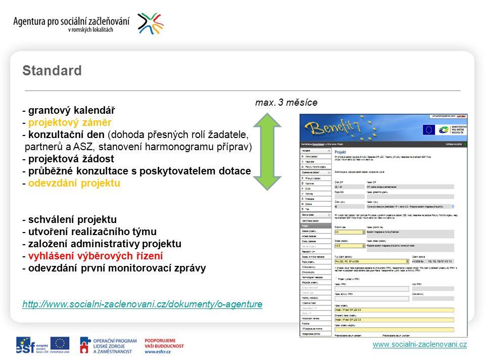 www.socialni-zaclenovani.cz Standard - grantový kalendář - projektový záměr - konzultační den (dohoda přesných rolí žadatele, partnerů a ASZ, stanovení harmonogramu příprav) - projektová žádost - průběžné konzultace s poskytovatelem dotace - odevzdání projektu - schválení projektu - utvoření realizačního týmu - založení administrativy projektu - vyhlášení výběrových řízení - odevzdání první monitorovací zprávy http://www.socialni-zaclenovani.cz/dokumenty/o-agenture max.