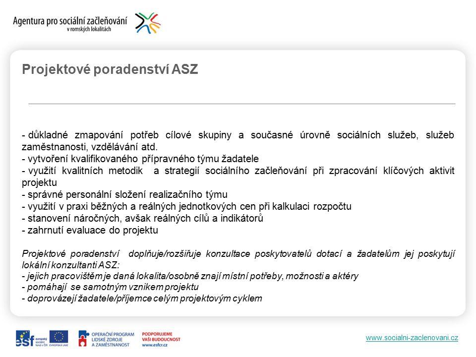 www.socialni-zaclenovani.cz Projektové poradenství ASZ - důkladné zmapování potřeb cílové skupiny a současné úrovně sociálních služeb, služeb zaměstnanosti, vzdělávání atd.