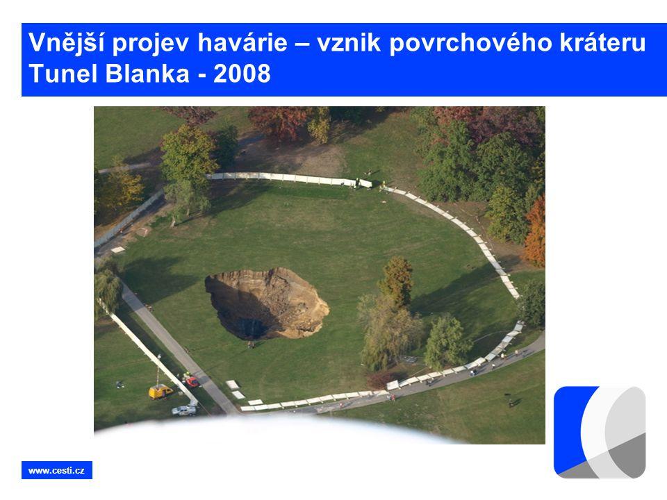 www.cesti.cz Vnější projev havárie – vznik povrchového kráteru Tunel Blanka - 2008