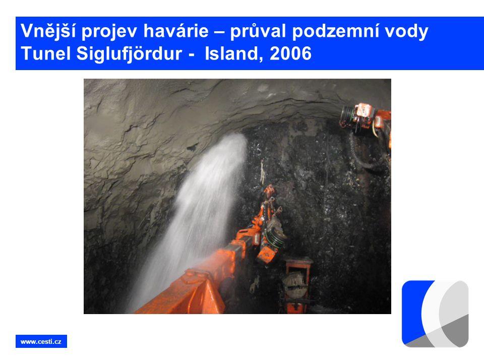 www.cesti.cz Vnější projev havárie – průval podzemní vody Tunel Siglufjördur - Island, 2006