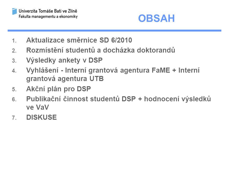 OBSAH 1.Aktualizace směrnice SD 6/2010 2. Rozmístění studentů a docházka doktorandů 3.