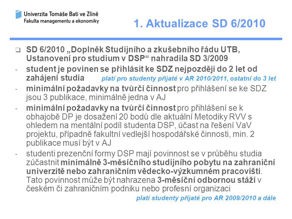 """1. Aktualizace SD 6/2010  SD 6/2010 """"Doplněk Studijního a zkušebního řádu UTB, Ustanovení pro studium v DSP"""" nahradila SD 3/2009 - student je povinen"""
