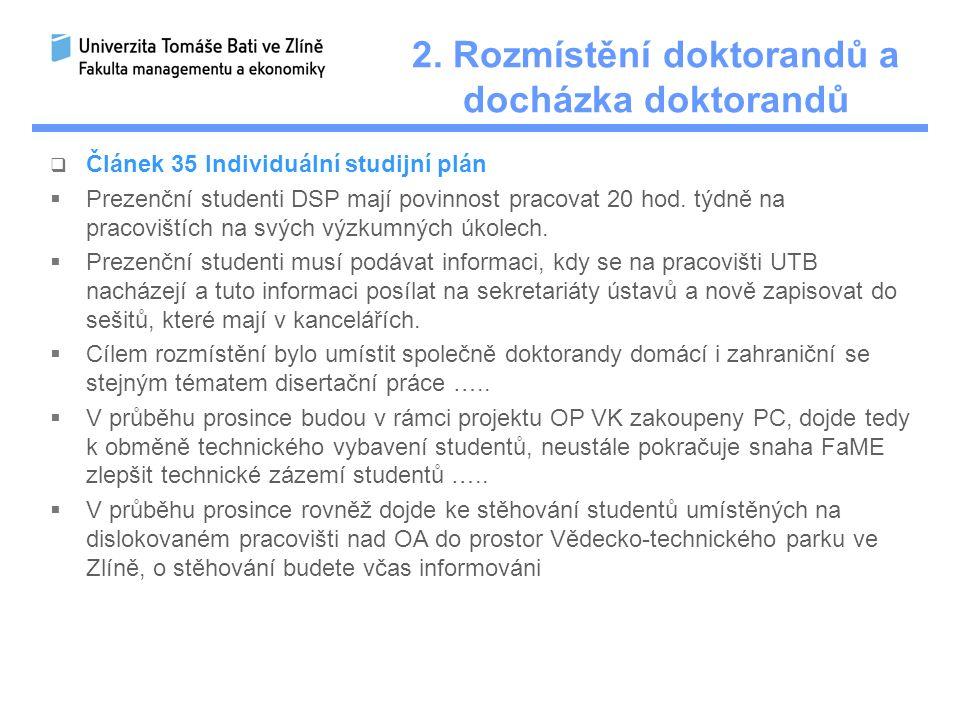 2. Rozmístění doktorandů a docházka doktorandů  Článek 35 Individuální studijní plán  Prezenční studenti DSP mají povinnost pracovat 20 hod. týdně n