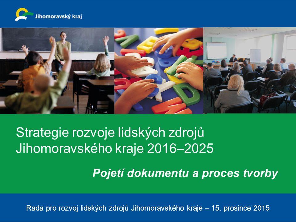 Strategie rozvoje lidských zdrojů Jihomoravského kraje 2016–2025 Pojetí dokumentu a proces tvorby Rada pro rozvoj lidských zdrojů Jihomoravského kraje – 15.