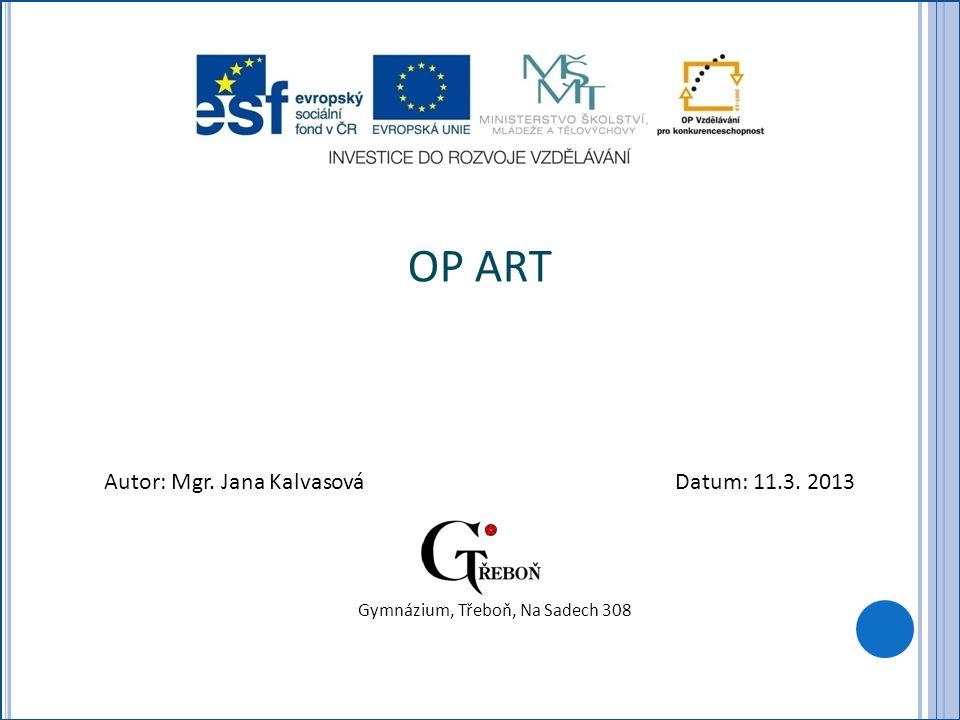 OP ART Autor: Mgr. Jana KalvasováDatum: 11.3. 2013 Gymnázium, Třeboň, Na Sadech 308