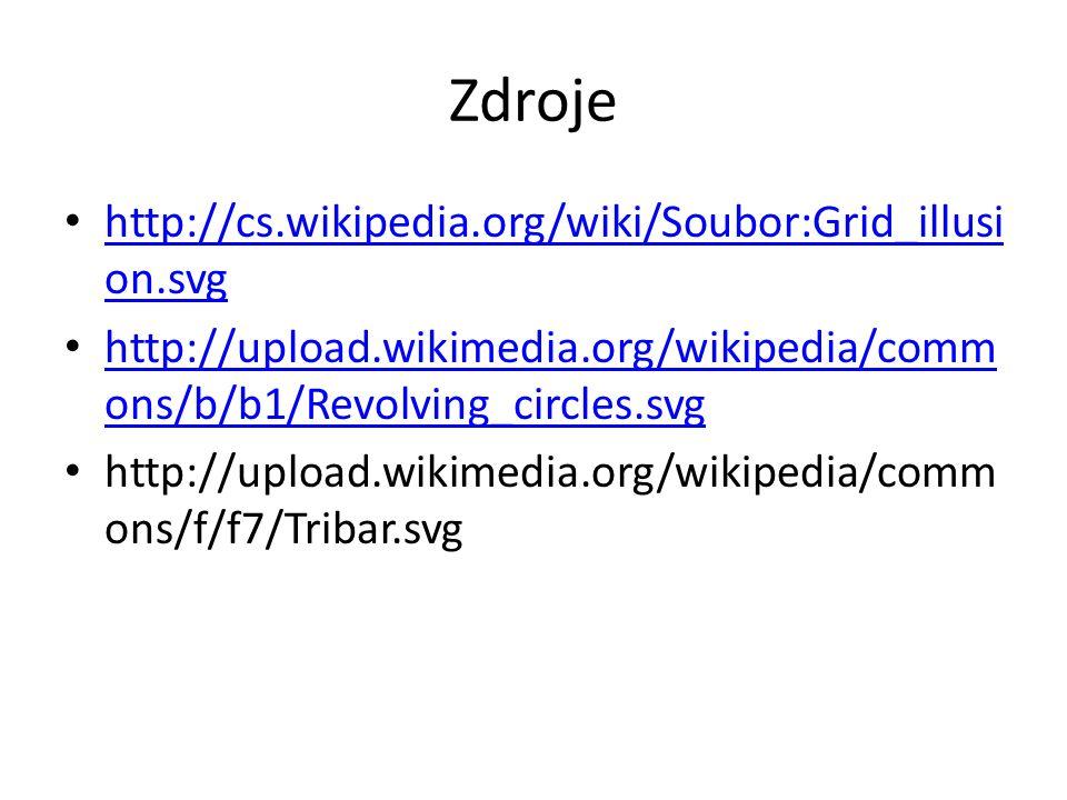 Zdroje http://cs.wikipedia.org/wiki/Soubor:Grid_illusi on.svg http://cs.wikipedia.org/wiki/Soubor:Grid_illusi on.svg http://upload.wikimedia.org/wikipedia/comm ons/b/b1/Revolving_circles.svg http://upload.wikimedia.org/wikipedia/comm ons/b/b1/Revolving_circles.svg http://upload.wikimedia.org/wikipedia/comm ons/f/f7/Tribar.svg
