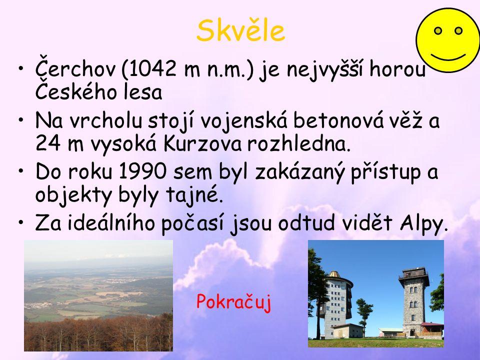 Skvěle Čerchov (1042 m n.m.) je nejvyšší horou Českého lesa Na vrcholu stojí vojenská betonová věž a 24 m vysoká Kurzova rozhledna.