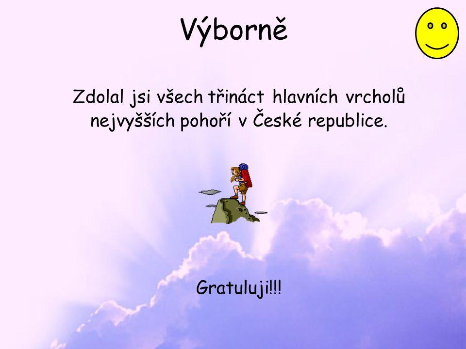 Výborně Zdolal jsi všech třináct hlavních vrcholů nejvyšších pohoří v České republice. Gratuluji!!!
