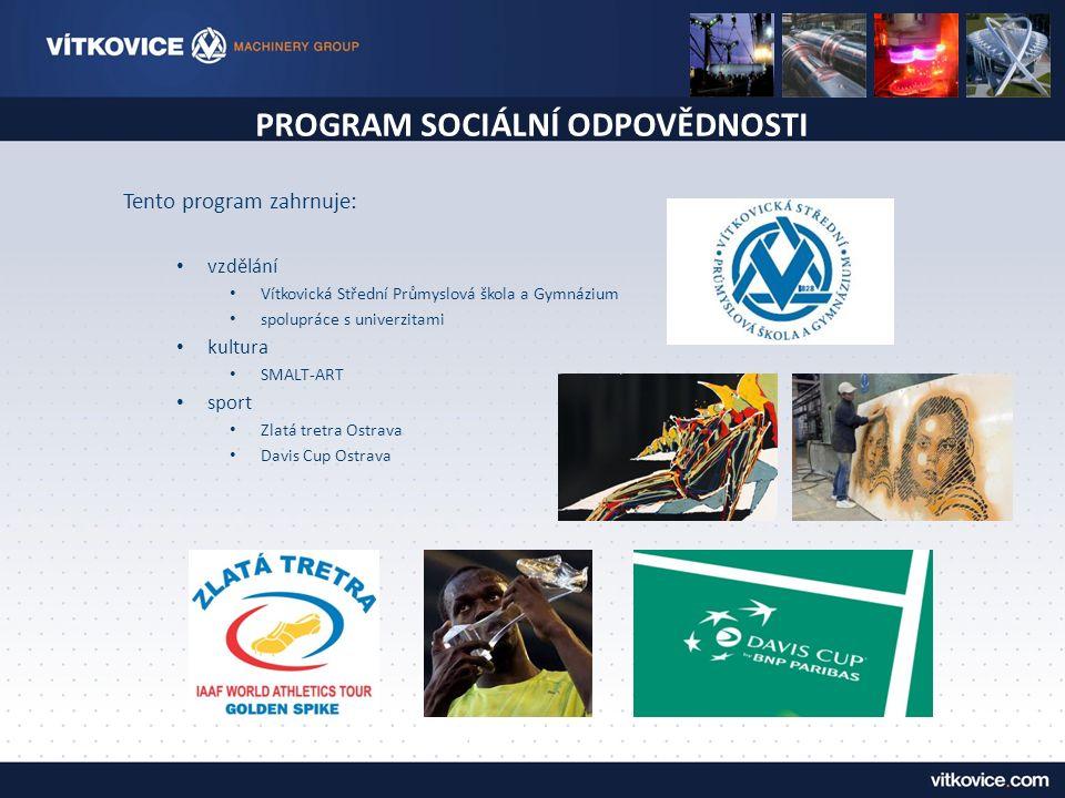 PROGRAM SOCIÁLNÍ ODPOVĚDNOSTI WWTP Steklno, Poland (1 100 Population Equivalent) Tento program zahrnuje: vzdělání Vítkovická Střední Průmyslová škola