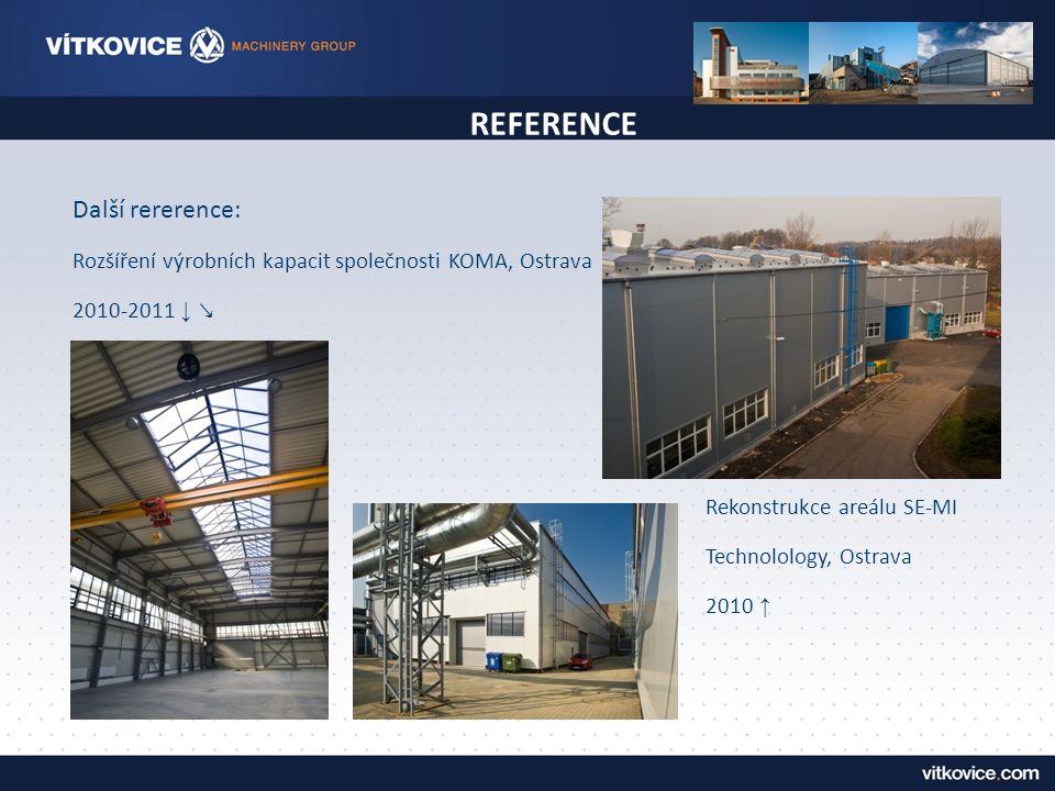 REFERENCE Další rererence: Rozšíření výrobních kapacit společnosti KOMA, Ostrava 2010-2011 ↓ ↘ Rekonstrukce areálu SE-MI Technolology, Ostrava 2010 ↑