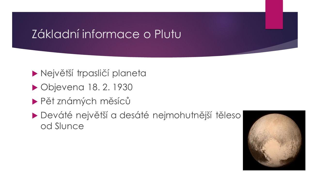 Základní informace o Plutu  Největší trpasličí planeta  Objevena 18. 2. 1930  Pět známých měsíců  Deváté největší a desáté nejmohutnější těleso od