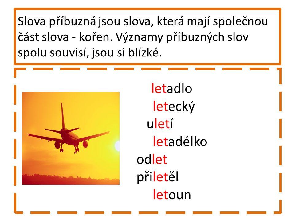 5.Najděte slova příbuzná, vypište je a vyznačte kořen slov.