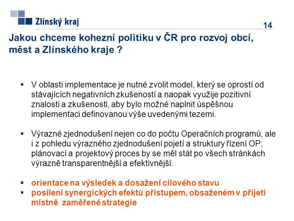 14 Jakou chceme kohezní politiku v ČR pro rozvoj obcí, měst a Zlínského kraje .