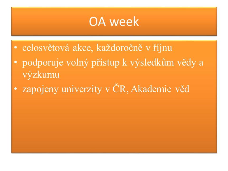OA week celosvětová akce, každoročně v říjnu podporuje volný přístup k výsledkům vědy a výzkumu zapojeny univerzity v ČR, Akademie věd celosvětová akce, každoročně v říjnu podporuje volný přístup k výsledkům vědy a výzkumu zapojeny univerzity v ČR, Akademie věd