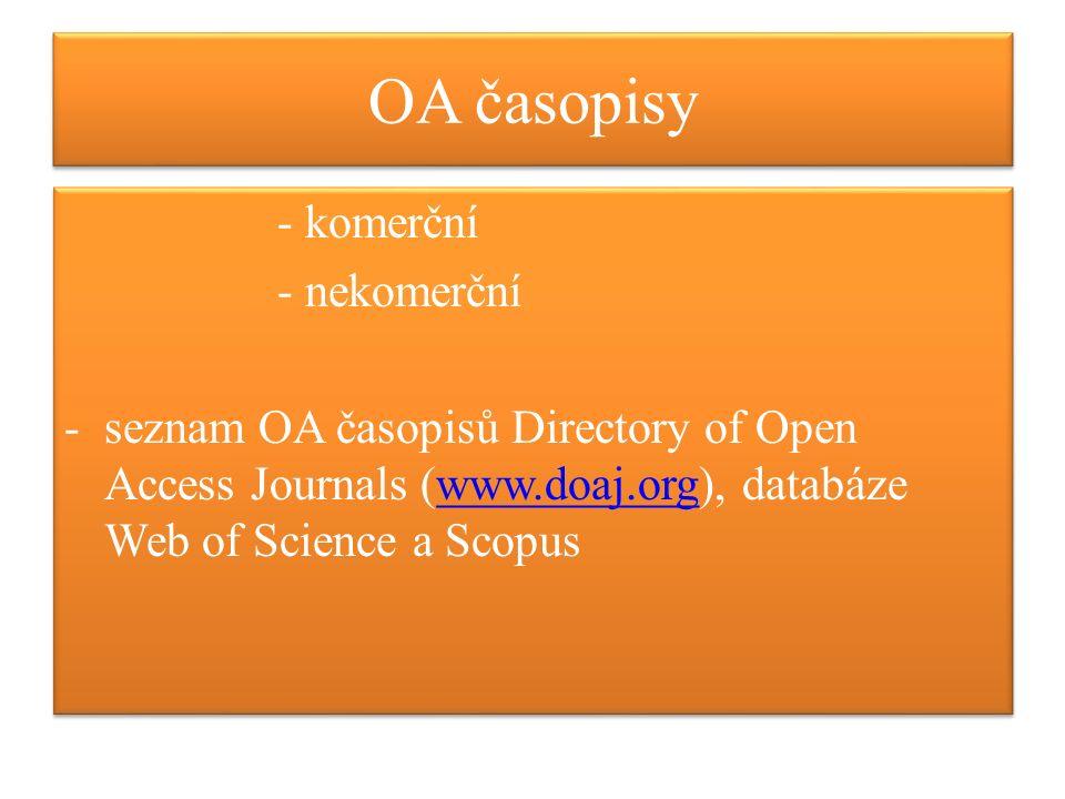 OA repozitáře -institucionální -oborové/pro vědecká data a výsledky experimentů -osobní stránky -vědecké sítě -dočasný repozitář pro výzkumníky bez institucionálního repozitáře Depot -seznam SHERPA/ROMEO + politika vydavatelů/na stránkách vydavatelů; ROAR, ROARMAP, OpenDOAR -institucionální -oborové/pro vědecká data a výsledky experimentů -osobní stránky -vědecké sítě -dočasný repozitář pro výzkumníky bez institucionálního repozitáře Depot -seznam SHERPA/ROMEO + politika vydavatelů/na stránkách vydavatelů; ROAR, ROARMAP, OpenDOAR