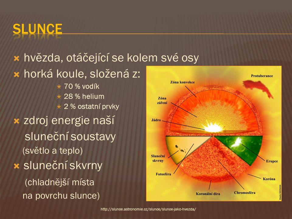  hvězda, otáčející se kolem své osy  horká koule, složená z:  70 % vodík  28 % helium  2 % ostatní prvky  zdroj energie naší sluneční soustavy (