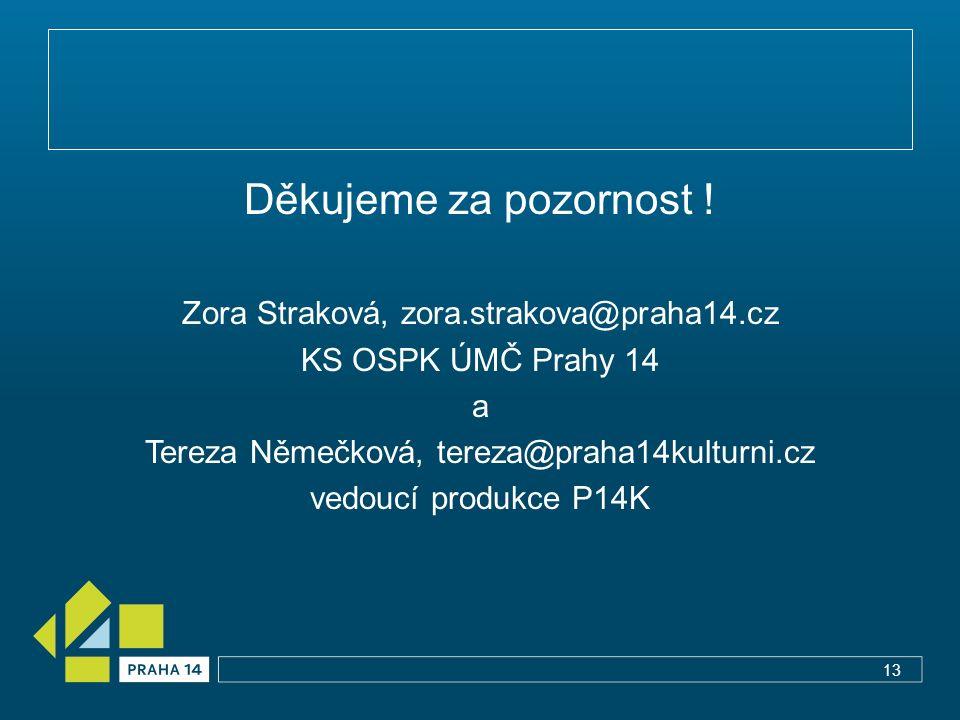 Děkujeme za pozornost ! Zora Straková, zora.strakova@praha14.cz KS OSPK ÚMČ Prahy 14 a Tereza Němečková, tereza@praha14kulturni.cz vedoucí produkce P1