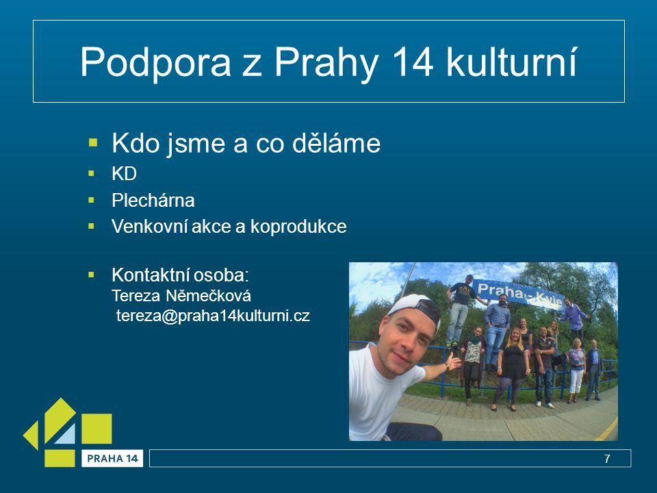 Podpora z Prahy 14 kulturní  Kdo jsme a co děláme  KD  Plechárna  Venkovní akce a koprodukce  Kontaktní osoba: Tereza Němečková tereza@praha14kul