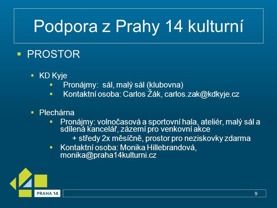 Podpora z Prahy 14 kulturní  PROSTOR  KD Kyje  Pronájmy: sál, malý sál (klubovna)  Kontaktní osoba: Carlos Žák, carlos.zak@kdkyje.cz  Plechárna 
