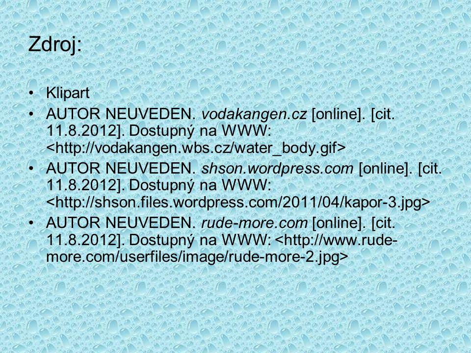 Zdroj: Klipart AUTOR NEUVEDEN. vodakangen.cz [online].