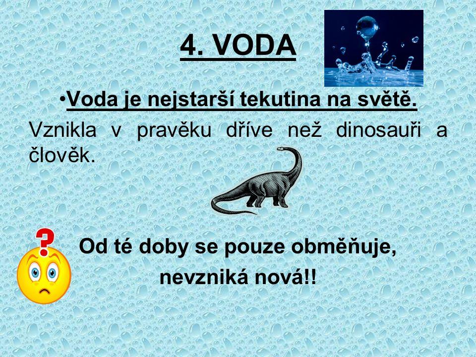 4. VODA Voda je nejstarší tekutina na světě. Vznikla v pravěku dříve než dinosauři a člověk.