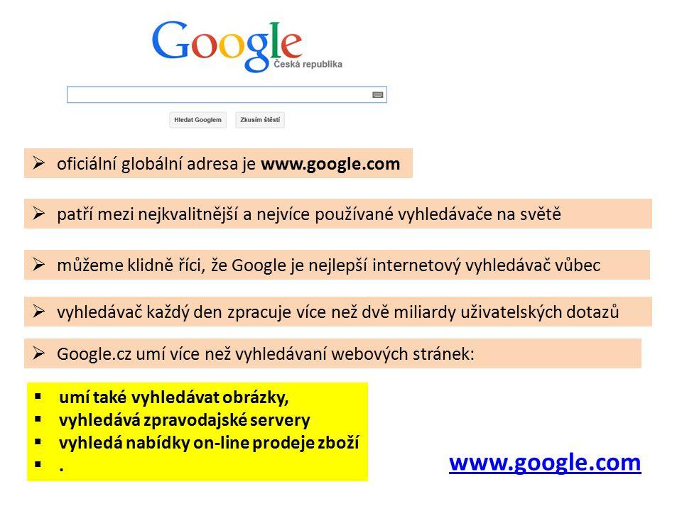 www.google.com  patří mezi nejkvalitnější a nejvíce používané vyhledávače na světě  vyhledávač každý den zpracuje více než dvě miliardy uživatelských dotazů  Google.cz umí více než vyhledávaní webových stránek:  oficiální globální adresa je www.google.com  můžeme klidně říci, že Google je nejlepší internetový vyhledávač vůbec  umí také vyhledávat obrázky,  vyhledává zpravodajské servery  vyhledá nabídky on-line prodeje zboží .