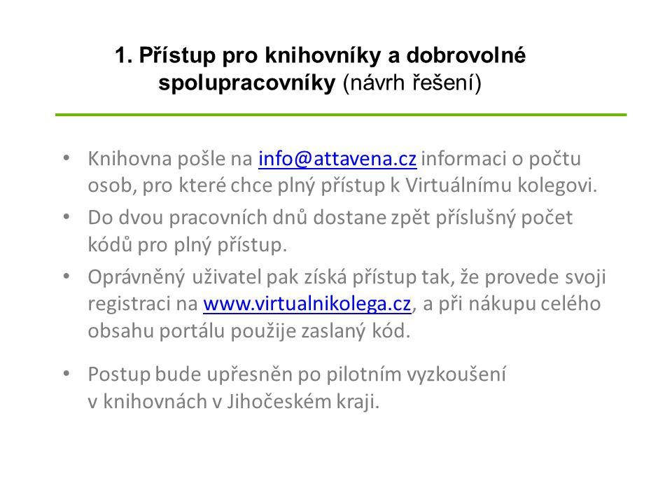 Knihovna pošle na info@attavena.cz informaci o počtu osob, pro které chce plný přístup k Virtuálnímu kolegovi.info@attavena.cz Do dvou pracovních dnů dostane zpět příslušný počet kódů pro plný přístup.