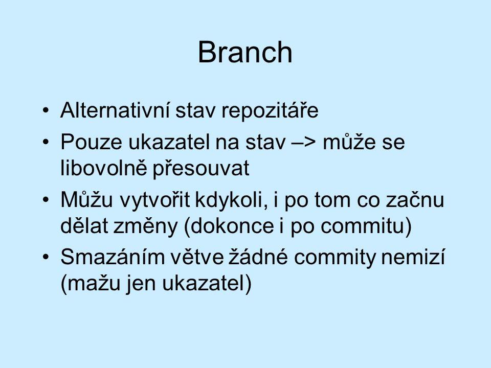 Branch Alternativní stav repozitáře Pouze ukazatel na stav –> může se libovolně přesouvat Můžu vytvořit kdykoli, i po tom co začnu dělat změny (dokonce i po commitu) Smazáním větve žádné commity nemizí (mažu jen ukazatel)