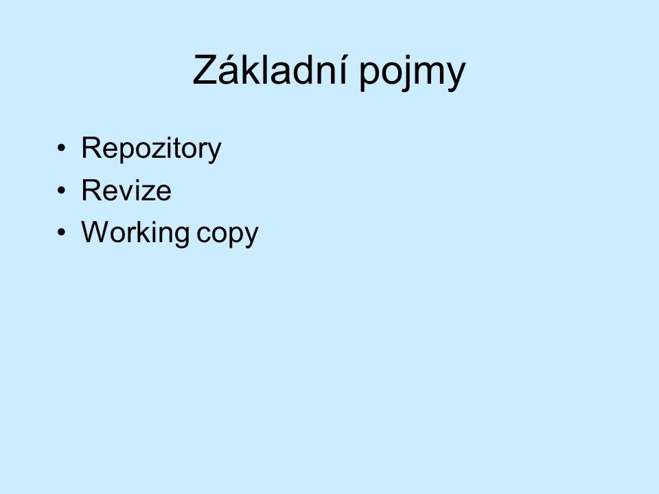 Základní pojmy Repozitory Revize Working copy