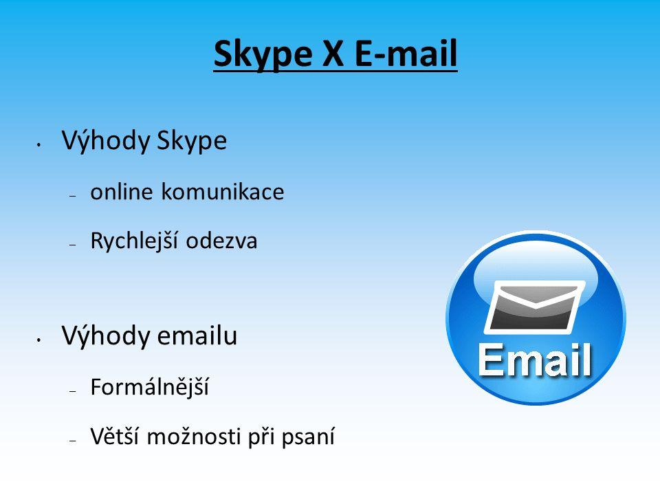 Skype X E-mail Výhody Skype – online komunikace – Rychlejší odezva Výhody emailu – Formálnější – Větší možnosti při psaní