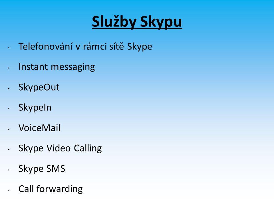 Služby Skypu Telefonování v rámci sítě Skype Instant messaging SkypeOut SkypeIn VoiceMail Skype Video Calling Skype SMS Call forwarding