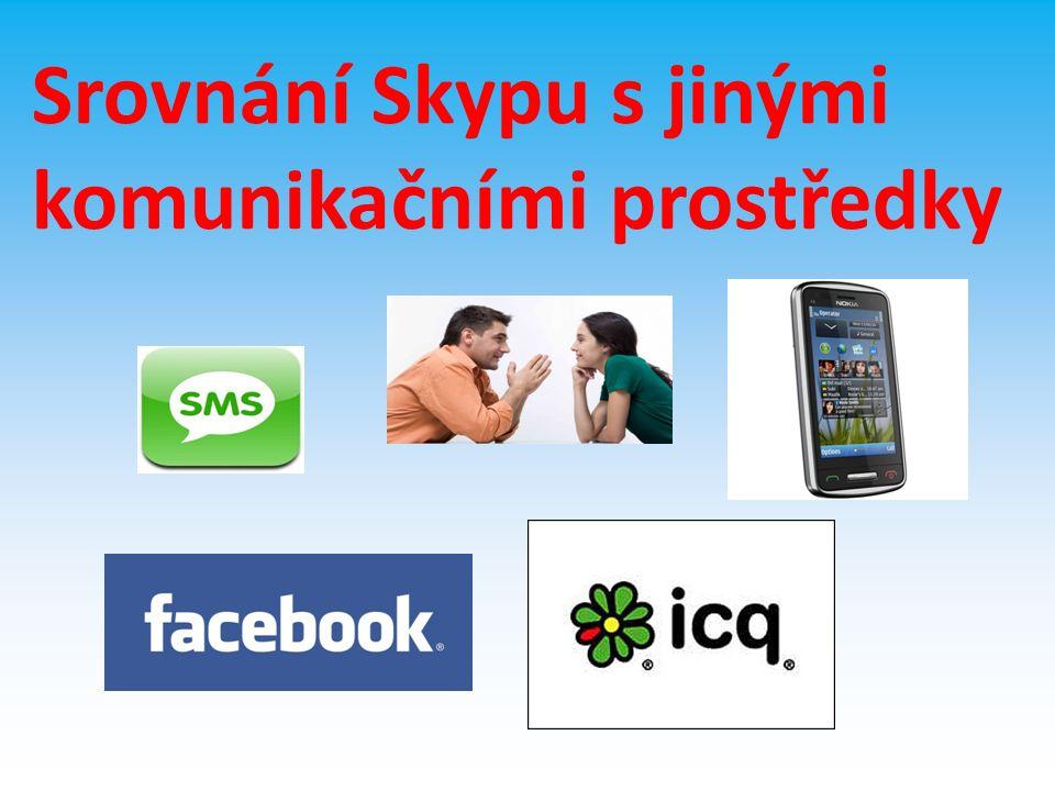 Skype X Facebook Výhody Skypu – jednodušší – videohovory a telefonování Výhody Facebooku – Mnohem více možností – Větší dostupnost - Žádná instalace,pouze vytvoření profilu