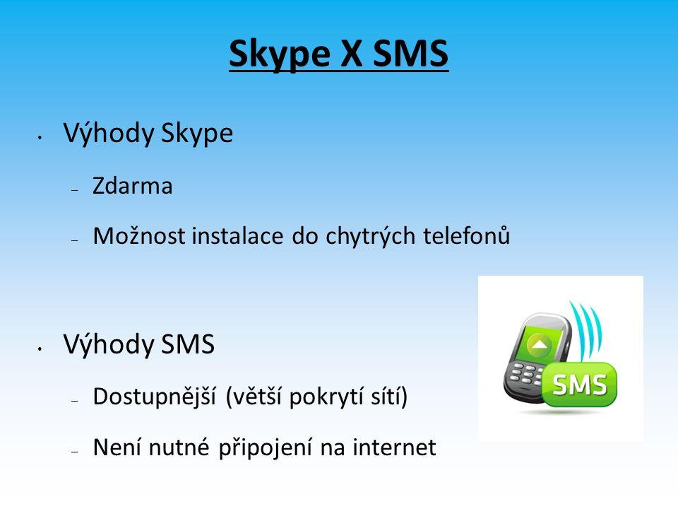 Skype X SMS Výhody Skype – Zdarma – Možnost instalace do chytrých telefonů Výhody SMS – Dostupnější (větší pokrytí sítí) – Není nutné připojení na internet