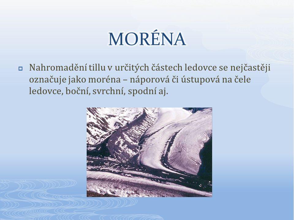  Nahromadění tillu v určitých částech ledovce se nejčastěji označuje jako moréna – náporová či ústupová na čele ledovce, boční, svrchní, spodní aj.