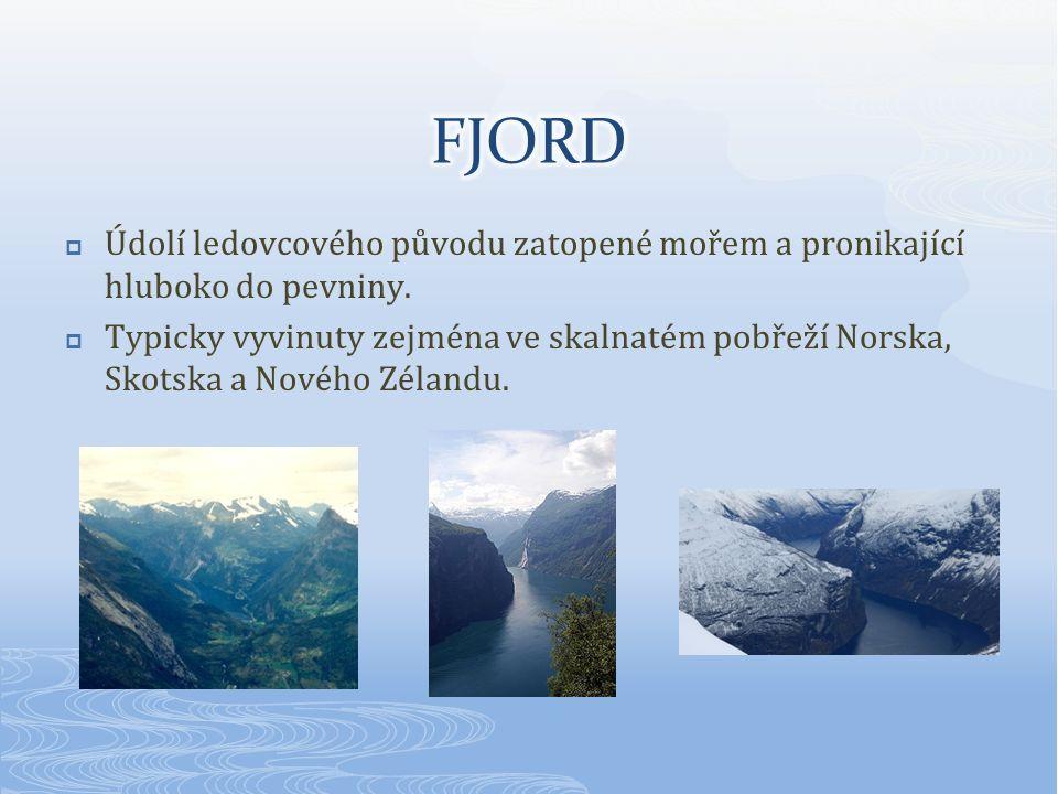  Údolí ledovcového původu zatopené mořem a pronikající hluboko do pevniny.