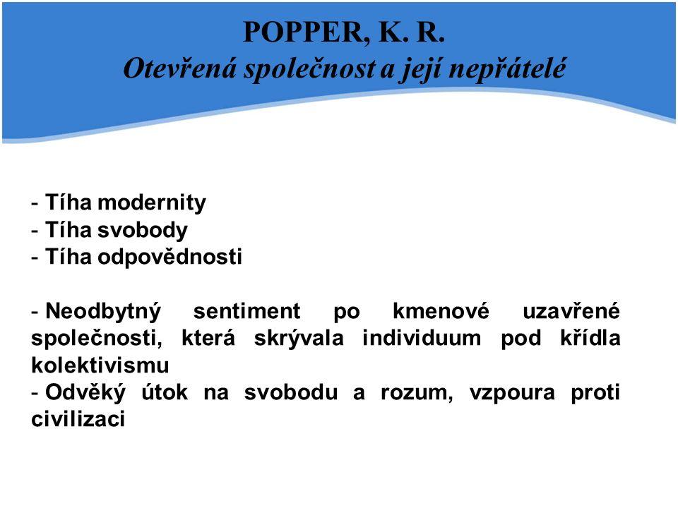 POPPER, K. R. Otevřená společnost a její nepřátelé - - Tíha modernity - - Tíha svobody - - Tíha odpovědnosti - - Neodbytný sentiment po kmenové uzavře