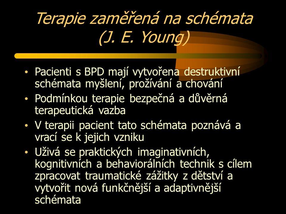 Terapie zaměřená na schémata (J. E. Young) Pacienti s BPD mají vytvořena destruktivní schémata myšlení, prožívání a chování Podmínkou terapie bezpečn