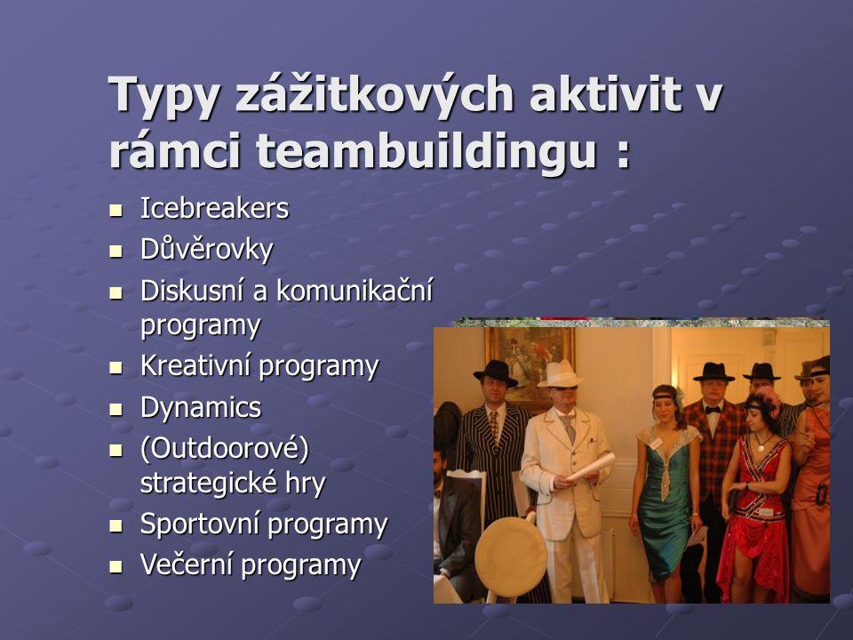 Typy zážitkových aktivit v rámci teambuildingu : Icebreakers Icebreakers Důvěrovky Důvěrovky Diskusní a komunikační programy Diskusní a komunikační programy Kreativní programy Kreativní programy Dynamics Dynamics (Outdoorové) strategické hry (Outdoorové) strategické hry Sportovní programy Sportovní programy Večerní programy Večerní programy
