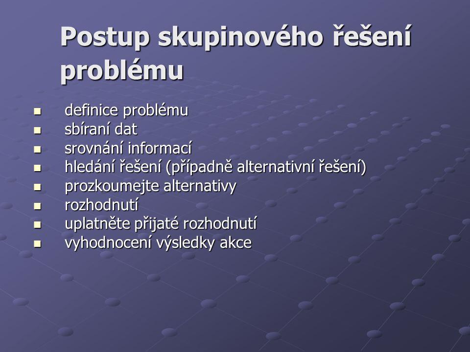Postup skupinového řešení problému definice problému definice problému sbíraní dat sbíraní dat srovnání informací srovnání informací hledání řešení (p