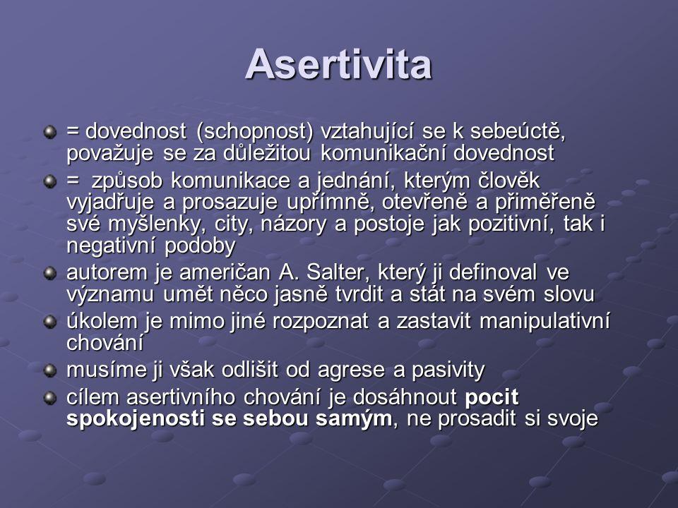 Asertivita = dovednost (schopnost) vztahující se k sebeúctě, považuje se za důležitou komunikační dovednost = způsob komunikace a jednání, kterým člověk vyjadřuje a prosazuje upřímně, otevřeně a přiměřeně své myšlenky, city, názory a postoje jak pozitivní, tak i negativní podoby autorem je američan A.