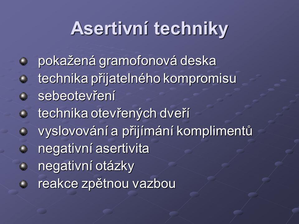 Asertivní techniky pokažená gramofonová deska technika přijatelného kompromisu sebeotevření technika otevřených dveří vyslovování a přijímání komplimentů negativní asertivita negativní otázky reakce zpětnou vazbou