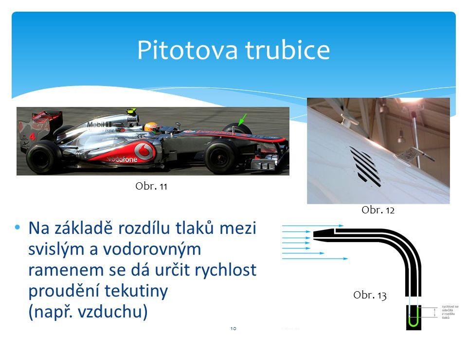 10 Pitotova trubice Na základě rozdílu tlaků mezi svislým a vodorovným ramenem se dá určit rychlost proudění tekutiny (např.
